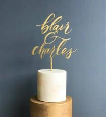 wedding photo - Custom Wedding Cake Topper with Two Names - Laser Cut Wood - Gold