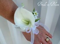 wedding photo - Cream calla lily wrist corsage champagne ivory or white pearls