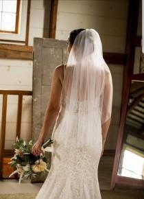 wedding photo - Wedding veil / tulle veil / white veil / ivory veil / fingertip veil / one tier veil / simple veil / bachelorette veil / bridal shower veil