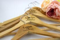 wedding photo - Personalised wooden laser engraved coat hangers
