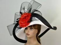 wedding photo - Woman White Black Strips Hat Red Flower Church Wedding Hat Head Piece Kentucky Derby Hat Bridal Coctail Hat Couture Fascinator  Bridal Hat