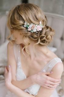 wedding photo - Flower hair comb, Blush Pink flower hair clip, Flower hair piece Wedding