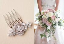 wedding photo - Bridal Hair Pins, Small Bridal Comb Art Deco, Crystal Headpiece Wedding Hair Accessories flower leaf cubic zirconia hair piece Rose Gold MIA