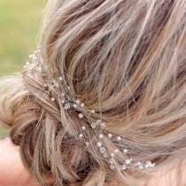 wedding photo - Hair Vine, Wedding Hair Vine, Bridal Hair Vine, Handmade Hair Vine, Pearl Hair Vine, Bridal Accessories, Spray Hair Vine, Long Hair Vine