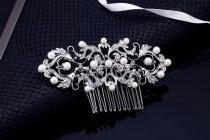 wedding photo - Pearl Comb, Bridal Comb, Wedding Comb, Crystal Comb, Pearl Bridal Comb, Pearl Hair Accessory, Bridesmaids Comb, Veil Comb, Wedding Hair Comb