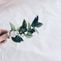 wedding photo - Greenery hair vine, leaf hair piece , greenery hair piece , greenery clip , greenery and white hair piece, floral hairpiece, bridal floral