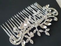 wedding photo - Bridal Hair Comb, Crystal Hair Piece, Wedding Headpiece, Crystal Silver Comb, Bridal Rhinestone Hair Piece, Sparkly Hair Jewelry Floral Comb