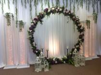 wedding photo - Outdoor Wedding Arch Metal Round Wedding Arch Moon Wedding Décor  Backdrop Floral Arch  Ceremony Arch Flower arch wedding flower arrangement