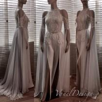 wedding photo - Jumpsuit Wedding Dress Bridal Bridesmaid Prom Bodysuit Detachable Chiffon Skirt Formal Sequins Lace Reception Long Sleeves Floor Length