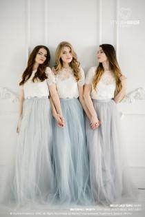 wedding photo - Grey Blue Palette Bridesmaids Belle Lace Dress, Long Grey Dusty Blue Waterfall Bridesmaids Skirt , Grey Engagement Prom Dresses Plus Size