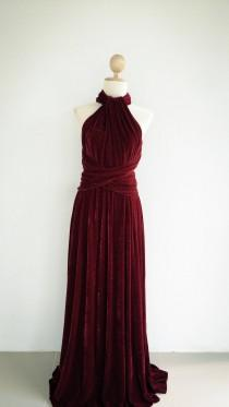 wedding photo - Burgundy Velvet dress Bridesmaid Dress infinity Dress Prom Dress Convertible Dress Wrap Dress