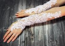 wedding photo - White Lace Bridal Gloves Wedding Gloves Gift For Bride Bridal Accessories