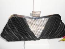 wedding photo - Vintage Black Evening Bag Rhinestone Trim, Glamorous Black Clutch Handbag EB-0235