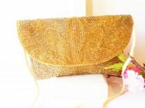 wedding photo - Fabulous Gold Beaded Evening Bag, Vintage Beaded Clutch Handbag EB-0333