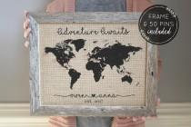 wedding photo - Engagement Gift, Personalized Gift for Boyfriend Gift, Push Pin Map, Rustic Home Decor, Travel Gift, Valentines Day Gifts for Her, Wife Gift