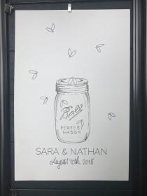 wedding photo - Fingerprint Guest Book - custom watercolor