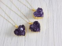 wedding photo - Heart Necklace Gold Filled Chain - Amethyst Necklace - Purple Druzy Pendant - Birthday Gifts For Mom - R5-67