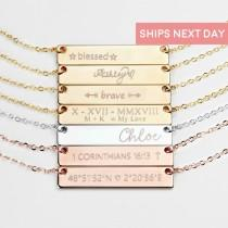 wedding photo - Personalized Bar Necklace for Mom Personalized Jewelry Name Necklace for Women Personalized Gift Jewelry Feminist - 4N