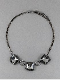 wedding photo - Bling Necklace in Smokey Grey Crystal Colorations