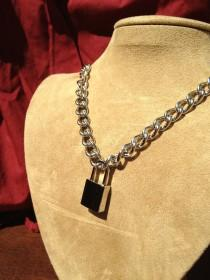 wedding photo - Stainless Steel Chain Necklace with Small Square Padlock