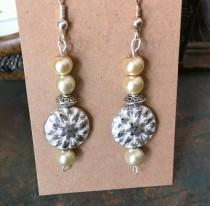 wedding photo - Czech Glass, Boho, Hand Crafted, Beaded Earrings in  Czech Glass and Silver Wash Patina Beads with Cream Goldtone Colored Glass Pearls.
