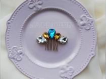 wedding photo - Something blue Swarovski Crystal bridal hair comb
