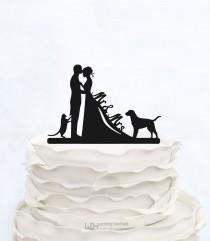 wedding photo - Wedding Cake Topper Mr & Mrs with dog and cat_Couple Silhouette_Bride And Groom_bridal show topper_Custom Cake Topper_customized Cake Topper