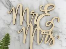 wedding photo - Mr & Mrs (two lines) Rustic Wood Wedding Cake Topper