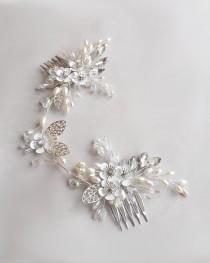 wedding photo - Wedding hair comb Bridal hair piece Crystal headpiece Bridal silver hair vine Rustic wedding Rhinestone hair comb Bridesmaid pearl pin
