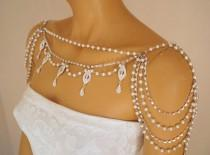 wedding photo - Shoulder necklace,Art deco shoulder jewelry,Pearl shoulder necklace,Wedding jewelry,Shoulder jewelry,Bridal shoulder necklace,Swarovski