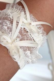 wedding photo - ivory lace garter set, ivory wedding garter set, ivory garter set, ivory bridal garter set, beige garter set, available plus size garter set
