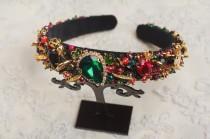wedding photo - Emerald beaded headband Wedding hair accessories Gold red black crystal tiara Bridal hair Baroque dolce headband Green jeweled headband