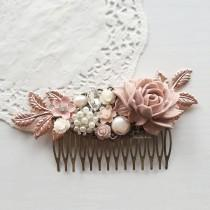 wedding photo - Hair Comb, Wedding, Mauve Pink, Bridal Hair Pin, Rose Gold Headpiece, Soft, Pastel Colors, Blush, Tea Rose, Hair Jewelry, Bride, Hair Slide