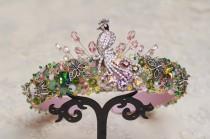 wedding photo - Pink green jeweled headband Silver bird tiara Baroque headband for women Summer wedding hair accessories jewelry Bridal rhinestone headpiece