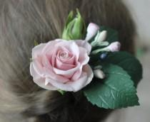 wedding photo - Blush Flower hair pins, Bridal flower hair clip, Wedding flower hair piece