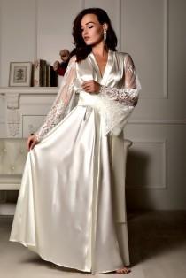 wedding photo - Long lace bridal robe Wedding kimono Long bridal robe Kimono robe Bridal dressing gown Maxi robe Kimono long Bride robe Bridal kimono