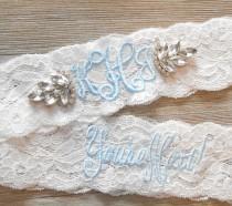 wedding photo - MONOGRAMMED Wedding Garter MANY COLORS Bridal Garter Floral Stretch Lace Bridal Garter Single Garter