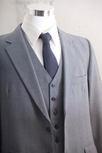 wedding photo - Men's Suit / Blue  Gray Vintage Suit,  Blazer, Vest, Trousers / Three Piece Wool Suit Large Size 42