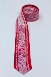 wedding photo - Polynesian Necktie- Skinny Tongan Red