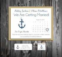 wedding photo - 50 Wedding Save the Date Cards - Nautical Beach Anchor - Printed - Personalized Save the Dates Invitations
