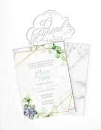 wedding photo - Printable Elegant Wedding Invitation with eucalyptus leaves and succulent plant • Floral Invites with gold geometric frame and greenery