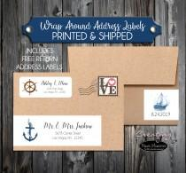 wedding photo - 100 Printed Wrap Around Address Labels - Nautical Anchor Beach- Printed - Personalized self stick labels