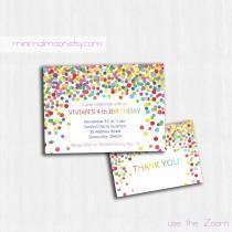 wedding photo - Confetti Birthday Invitation, Printable birthday invitation, Children Birthday Party invitation, bright invite, Children party invitation