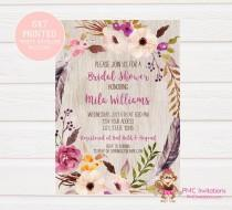 wedding photo - Custom Printed Floral Boho Bridal Shower Invitations - Bridal Party Invitation - 1.00 each with envelope