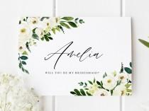 wedding photo - Will You Be My Bridesmaid Card, Classic Bridesmaid Proposal, Bridesmaid Proposal Card, Personalised Bridesmaid Card, Floral Bridesmaid Card