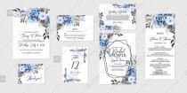 wedding photo -  Navy blue rose peony Wedding invitation set printable card template vector birthday card