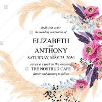 wedding photo -  Wedding invitation watercolor greenery pampas grass pink zinnia flower berry floral greeting card