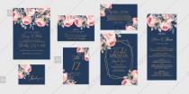 wedding photo -  Pink rose peony Wedding invitation set printable card template vector floral background
