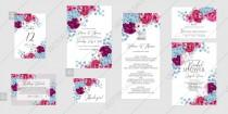 wedding photo -  Marsala hydrangea blue rose peony Wedding invitation set printable card template vector anniversary invitation