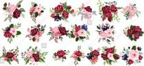 wedding photo -  Marsala Rose clipart floral vector bouquet red flower and greenery